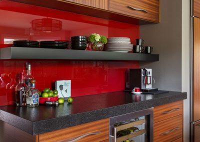 kitchen countertop with red backsplash
